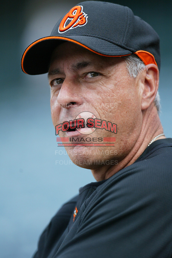 Baltimore Orioles Manager Sam Perlozzo during batting practice before a game from the 2007 season at Angel Stadium in Anaheim, California. (Larry Goren/Four Seam Images)