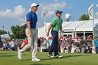 Rory McIlroy (NIR) and Justin Thomas (USA) head down 17 during 4th round of the World Golf Championships - Bridgestone Invitational, at the Firestone Country Club, Akron, Ohio. 8/5/2018.<br /> Picture: Golffile | Ken Murray<br /> <br /> <br /> All photo usage must carry mandatory copyright credit (© Golffile | Ken Murray)