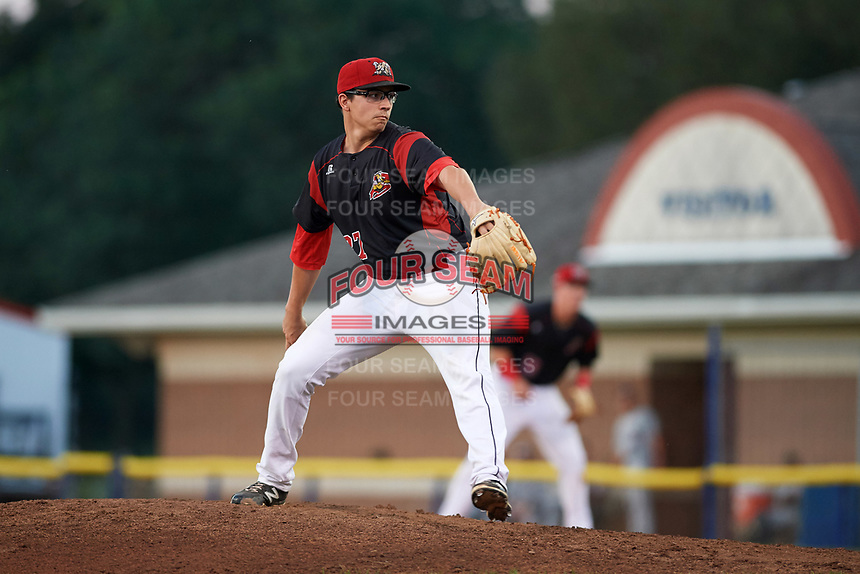 Batavia Muckdogs starting pitcher Alex Mateo (37) delivers a pitch during a game against the Mahoning Valley Scrappers on August 16, 2017 at Dwyer Stadium in Batavia, New York.  Batavia defeated Mahoning Valley 10-6.  (Mike Janes/Four Seam Images)