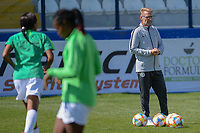20190301 - LARNACA , CYPRUS : Nigerian head coach Thomas Dennerby (right) pictured during a women's soccer game between Slovakia and Nigeria , on Friday 1 March 2019 at the Antonis Papadopoulos Stadium in Larnaca , Cyprus . This is the second game in group C for both teams during the Cyprus Womens Cup 2019 , a prestigious women soccer tournament as a preparation on the Uefa Women's Euro 2021 qualification duels and FIFA Women's World Cup 2019 in France . PHOTO SPORTPIX.BE | STIJN AUDOOREN