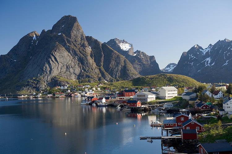 Fishing harbor of Reine surround by Reinefjord, Mosekenesoya, Lofoten Islands, Norway