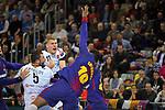 VELUX EHF 2017/18 EHF Men's Champions League Group Phase - Round 11.<br /> FC Barcelona Lassa vs HC Vardar: 29-28.<br /> Dainis Kristopans vs Cedric Sorhaindo.