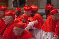 Vatican City, November 19, 2016. Cardinali nella Basilica di San Pietro durante la cerimonia di canonizzazione per l'elezione di 17 nuovi cardinali. Cardinals attend the consistory ceremony at the St Peter Basilica where he named 17 newly cardinals.