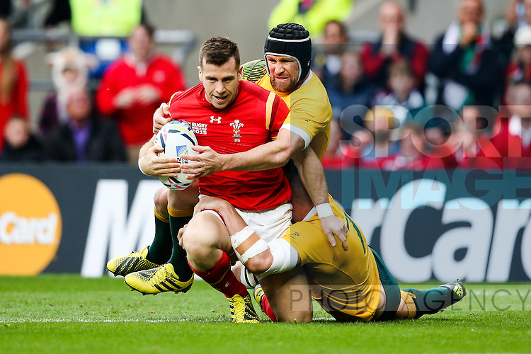 Wales' Gareth Davies hit by Australia's Matt Giteau and Australia's Sean McMahon- Rugby World Cup 2015 - Pool A - Australia v Wales - Twickenham Stadium - London- England - 10th October 2015 - Picture Charlie Forgham Bailey/Sportimage