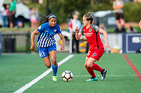Boston, MA - Sunday September 10, 2017: Margaret Purce and Meghan Klingenberg during a regular season National Women's Soccer League (NWSL) match between the Boston Breakers and Portland Thorns FC at Jordan Field.
