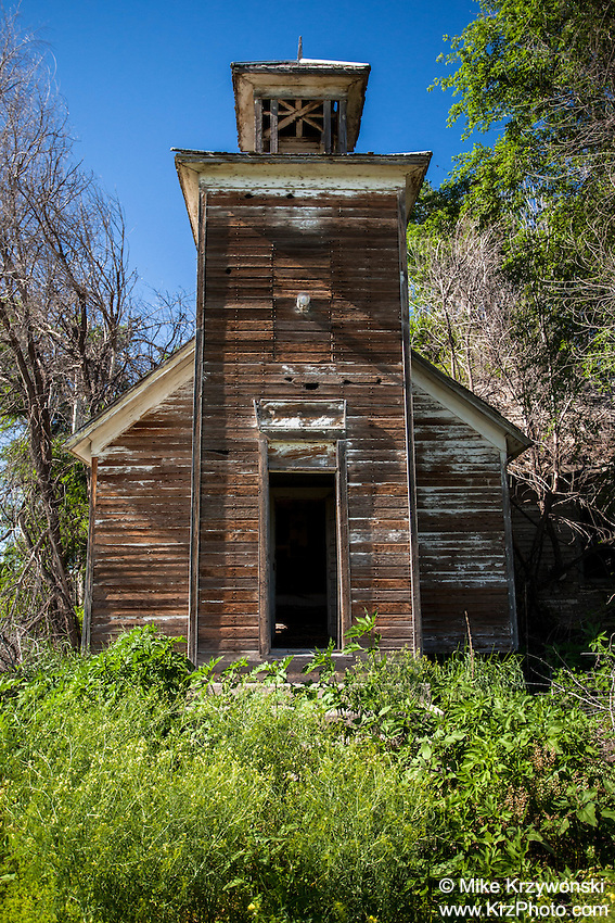 Old abandoned schoolhouse in Perrin, NE