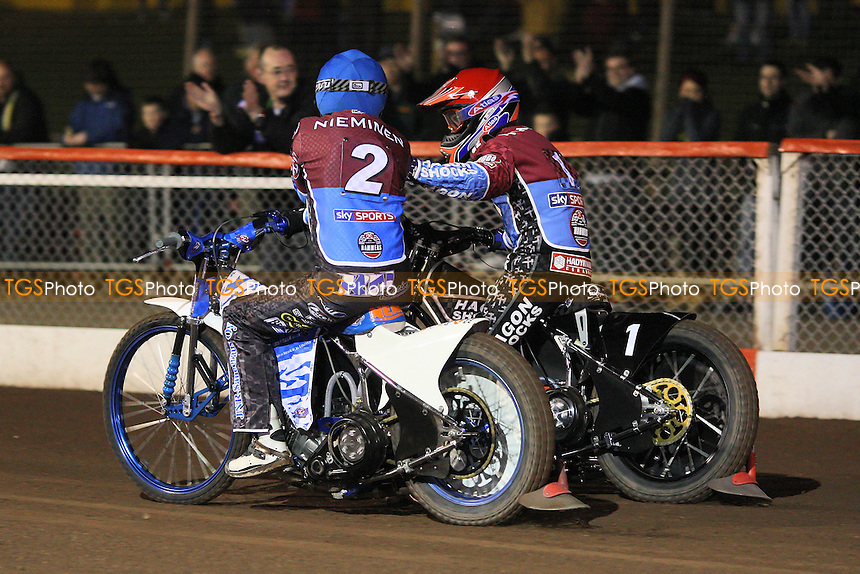 Heat 1: Kauko Nieminen (blue) and Lee Richardson celebrate a 5-1 for Lakeside - Lakeside Hammers vs Swindon Robins - Elite League Challenge Speedway at Arena Essex Raceway - 25/03/11 - MANDATORY CREDIT: Gavin Ellis/TGSPHOTO - Self billing applies where appropriate - Tel: 0845 094 6026