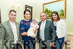 Baby Evie Carroll with her parents Michael Carroll & Catherine Foley and godparents Declan Coughlan & Michelle Foley who was christened in Ballylongford Church by Fr. Stack on Saturday last and afterwards at the Listowel Arms Hotel.