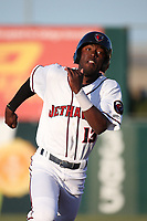 Mylz Jones (13) of the Lancaster JetHawks runs the bases during a game against the San Jose Giants at The Hanger on May 5, 2017 in Lancaster, California. San Jose defeated Lancaster, 4-2. (Larry Goren/Four Seam Images)
