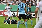 11.08.2019, Carl-Benz-Stadion, Mannheim, GER, DFB Pokal, 1. Runde, SV Waldhof Mannheim vs. Eintracht Frankfurt, <br /> <br /> DFL REGULATIONS PROHIBIT ANY USE OF PHOTOGRAPHS AS IMAGE SEQUENCES AND/OR QUASI-VIDEO.<br /> <br /> im Bild: Ante Rebic (Eintracht Frankfurt #4) trifft das Tor zum 3:3 gegen Max Christiansen (SV Waldhof Mannheim #13)<br /> <br /> Foto © nordphoto / Fabisch