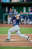 Nick Kahle (16) of the Rocky Mountain Vibes at bat against the Ogden Raptors at Lindquist Field on July 4, 2019 in Ogden, Utah. The Raptors defeated the Vibes 4-2. (Stephen Smith/Four Seam Images)