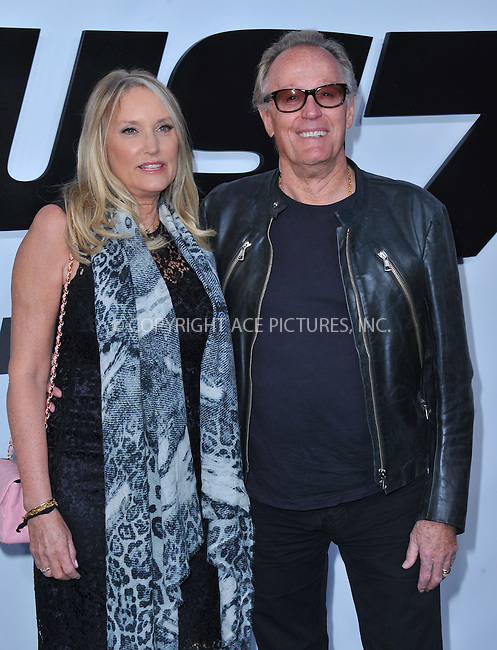 WWW.ACEPIXS.COM<br /> <br /> April 1 2015, LA<br /> <br /> Peter Fonda and Parky Fonda arriving at Universal Pictures Premiere of 'Furious 7'' at the TLC Chinese Theatre, Hollywood, on April 1, 2015 in Los Angeles.CA <br /> <br /> By Line: Peter West/ACE Pictures<br /> <br /> <br /> ACE Pictures, Inc.<br /> tel: 646 769 0430<br /> Email: info@acepixs.com<br /> www.acepixs.com