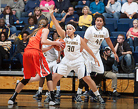 Mikayla Lyles of California in defense mode during the game against Oregon State at Haas Pavilion in Berkeley, California on January 3rd, 2014.  California defeated Oregon State, 72-63.