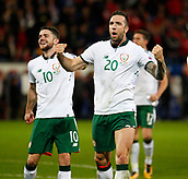 9th October 2017, Cardiff City Stadium, Cardiff, Wales; FIFA World Cup Qualification, Wales versus Republic of Ireland; Shane Duffy and Robbie Brady celebrate at full time