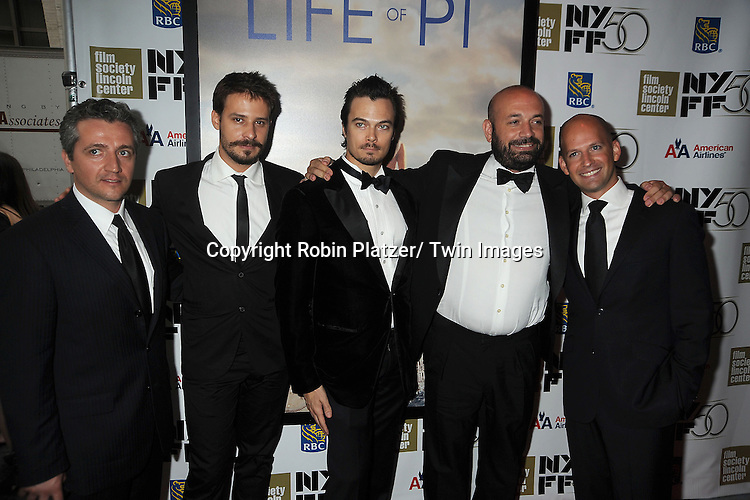 "Marius Chira, Barbu Balasoir, Tim Hobbs, Antonio Mendez Esparza and Ori Dov Gratch attends the 50th Annual New York Film Festival Opening Night Gala presentation of ""Life of Pi"" starring Suraj Sharma and directored by Ang Lee on September 28, 2012 in New York City. The screening was at Alice Tully Hall at Lincoln Center."