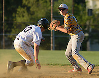 UPPER SOUTHAMPTON, PA - JUNE 26:  Southampton's  Paul McElroy (L) slides into second base as Horsham second baseman Brian Edgington attempts a double play in the first inning of an American Legion baseball game June 26, 2014 in Upper Southampton, Pennsylvania.  (Photo by William Thomas Cain/Cain Images)
