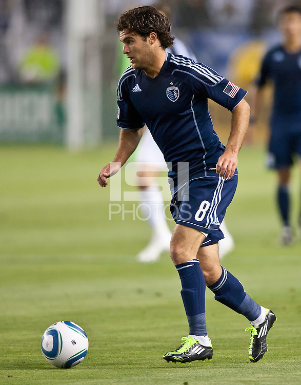 CARSON, CA – May 14, 2011: Sporting KC forward Graham Zusi (8) during the match between LA Galaxy and Sporting Kansas City at the Home Depot Center in Carson, California. Final score LA Galaxy 4, Sporting Kansas City 1.