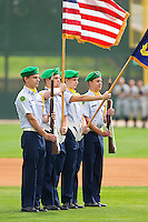The Central Cabarrus High School R.O.T.C. present the colors prior to the South Atlantic League game between the West Virginia Power and the Kannapolis Intimidators at Fieldcrest Cannon Stadium on April 20, 2011 in Kannapolis, North Carolina.   Photo by Brian Westerholt / Four Seam Images