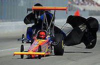 Feb. 10, 2012; Pomona, CA, USA; NHRA top alcohol dragster driver Duane Shields during qualifying at the Winternationals at Auto Club Raceway at Pomona. Mandatory Credit: Mark J. Rebilas-