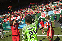 Portland, OR - Saturday September 02, 2017: Adrianna Franch, Christine Sinclair after a regular season National Women's Soccer League (NWSL) match between the Portland Thorns FC and the Washington Spirit at Providence Park.