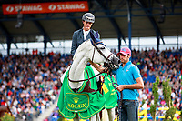 BEL-Gregory Wathelet rides Coree during the Prizegiving for the Rolex Grand Prix Springprüfung - Der Große Preis von Aachen.   Final-1st. 2017 GER-CHIO Aachen Weltfest des Pferdesports. Sunday 23 July. Copyright Photo: Libby Law Photography