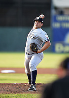 Staten Island Yankees starting pitcher Sean Carley (61) delivers a pitch during a game against the Batavia Muckdogs on August 6, 2014 at Dwyer Stadium in Batavia, New York.  Batavia defeated Staten Island 5-3.  (Mike Janes/Four Seam Images)