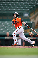 GCL Orioles Trevor Putzig (43) bats during a Gulf Coast League game against the GCL Braves on August 5, 2019 at Ed Smith Stadium in Sarasota, Florida.  GCL Orioles defeated the GCL Braves 4-3 in the first game of a doubleheader.  (Mike Janes/Four Seam Images)