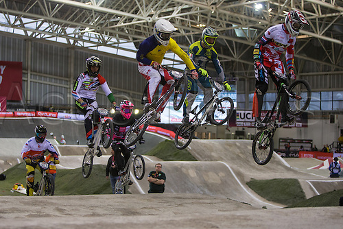 09.04.2016. National Cycling Centre, Manchester, England. UCI BMX Supercross World Cup day 1. Eddy Clerte and Tomas Merta chase the pack.