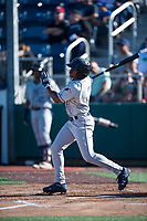 Tri-City Dust Devils shortstop Xavier Edwards (2) follows through on his swing during a Northwest League game against the Everett AquaSox at Everett Memorial Stadium on September 3, 2018 in Everett, Washington. The Everett AquaSox defeated the Tri-City Dust Devils by a score of 8-3. (Zachary Lucy/Four Seam Images)
