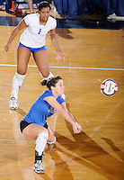 22 November 2008:  New Orleans libero Nicky Valenti (10) keeps the ball in play during the WKU 3-0 victory over New Orleans in the championship game of the Sun Belt Conference tournament at U.S. Century Bank Arena in Miami, Florida.