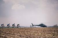low-angle TV shots of the peloton...<br /> <br /> Driedaagse Brugge-De Panne 2018<br /> Bruges - De Panne (202km)
