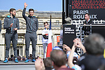 Gediminas Bagdonas (LIT) and Belgian National Champion Oliver Naesen (BEL) AG2R La Mondiale on stage at the team presentation before the 116th edition of Paris-Roubaix 2018. 7th April 2018.<br /> Picture: ASO/Pauline Ballet | Cyclefile<br /> <br /> <br /> All photos usage must carry mandatory copyright credit (&copy; Cyclefile | ASO/Pauline Ballet)