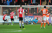 Blackpool's Christoffer Mafoumbi saves the penalty from Exeter City's Pierce Sweeney<br /> <br /> Photographer Kevin Barnes/CameraSport<br /> <br /> Emirates FA Cup First Round - Exeter City v Blackpool - Saturday 10th November 2018 - St James Park - Exeter<br />  <br /> World Copyright &copy; 2018 CameraSport. All rights reserved. 43 Linden Ave. Countesthorpe. Leicester. England. LE8 5PG - Tel: +44 (0) 116 277 4147 - admin@camerasport.com - www.camerasport.com