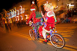 Sutter Creek, California's Parade of Lights, downtown on Main Street on a cold winter's eve.