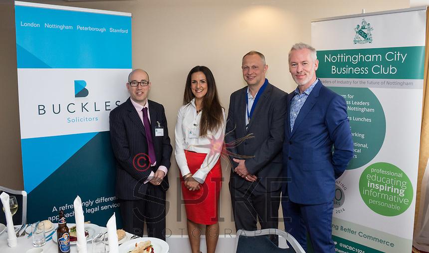 Pictured from left are Luke Appleby and Nikki Aston both of NCBC sponsors Buckles Law, NCBC President Mark Deakin and guest speaker Brendan Moffett of Marketing NG