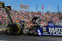 Jun. 2, 2012; Englishtown, NJ, USA: NHRA top fuel dragster driver Antron Brown during qualifying for the Supernationals at Raceway Park. Mandatory Credit: Mark J. Rebilas-