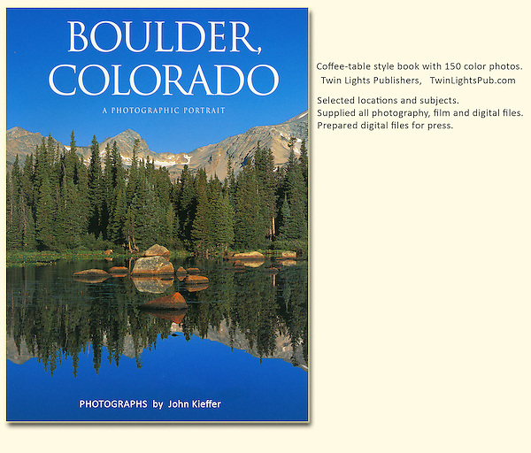 "John's 4th photo book: ""Boulder, Colorado: A Photographic Portrait.""  John leads photo tours and guided hikes in Boulder. Also, Rocky Mountain National Park tours. Year-round tours."