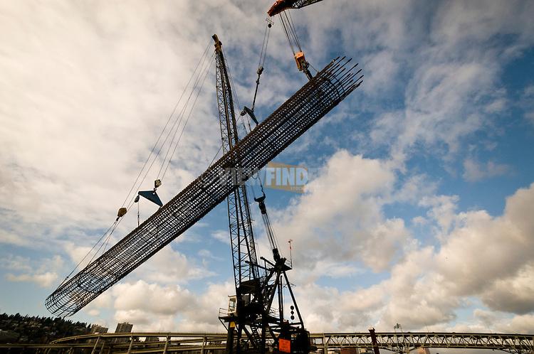 Large cranes erecting rebar column.