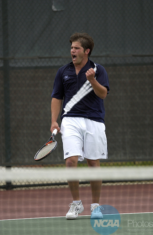 19 MAY 2006: Ari Beilin of Middlebury College reacts to winning a point against Patrick Redmond of Emory University during the Division III Men's Championship held at the University of Mary Washington Tennis Complex in Fredericksburg, VA.  Emory University defeated Middlebury College for the team national title.  Greg Fiume/NCAA Photos