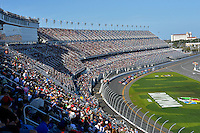 19-20 February, 2016, Daytona Beach, Florida USA<br /> The field comes to the line for a restart in Daytona's new stadium.<br /> ©2016, F. Peirce Williams