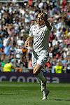 Real Madrid´s Gareth Bale celebrates a goal during 2014-15 La Liga match between Real Madrid and Granada at Santiago Bernabeu stadium in Madrid, Spain. April 05, 2015. (ALTERPHOTOS/Luis Fernandez)
