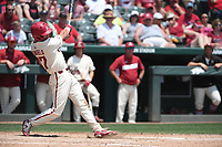 NWA Democrat-Gazette/J.T. WAMPLER Luke Bonfield rips a home run in the third inning against Texas A&M Sunday May 13, 2018 at Baum Stadium in Fayetteville. Arkansas won 6-3 to sweep the three game series.