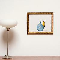 "Kroll: Goldfinch on Vase, Digital Print, Image Dims. 11"" x 14"", Framed Dims. 13.5"" x 16"""