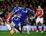 Kurt Zouma of Chelsea outs an arm across Anthony Martial of Manchester United which brings him down and claim for a penalty - English Premier League - Manchester Utd vs Chelsea - Old Trafford Stadium - Manchester - England - 28th December 2015 - Picture Simon Bellis/Sportimage