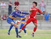 Paul Clayton (L) of Romford collides with Billy Holland - Romford vs Aveley - Pre-Season Friendly Match at Mill Field, Aveley FC - 31/07/10 - MANDATORY CREDIT: Gavin Ellis/TGSPHOTO - Self billing applies where appropriate - Tel: 0845 094 6026