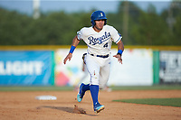 Jose Marquez (4) of the Burlington Royals takes off for third base against the Johnson City Cardinals at Burlington Athletic Stadium on July 15, 2018 in Burlington, North Carolina. The Cardinals defeated the Royals 7-6.  (Brian Westerholt/Four Seam Images)