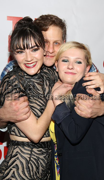 """Isabelle Fuhrman, Joe Tippett and Abigail Breslin attend the Opening Night of The New Group World Premiere of """"All The Fine Boys"""" at the The Green Fig Urban Eatery on March 1, 2017 in New York City."""