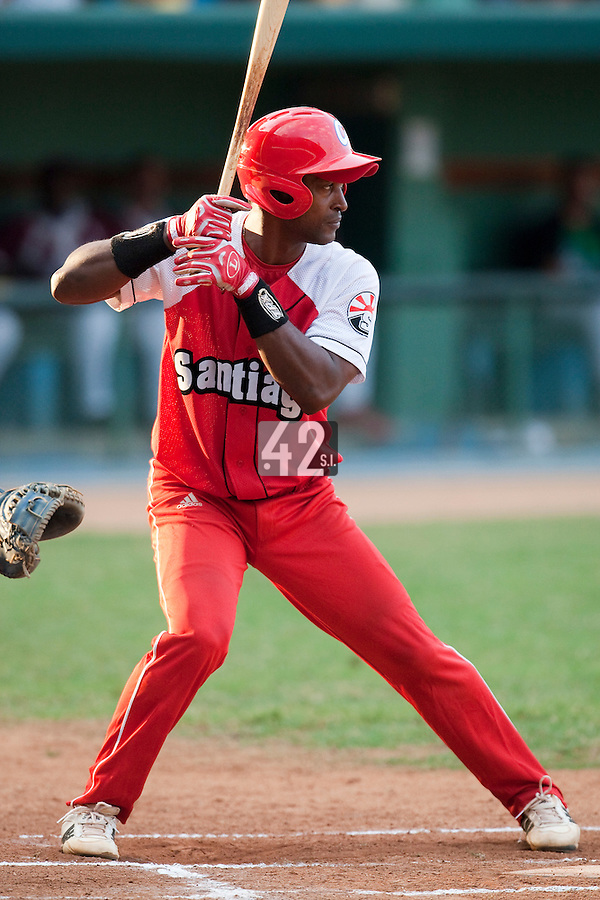 15 February 2009: Catcher Rolando Merino of the Orientales is seen at bat during a training game of Cuba Baseball Team for the World Baseball Classic 2009. The national team is pitted against itself, divided in two teams called the Occidentales and the Orientales. The Orientales win 12-8, at the Latinoamericano stadium, in la Habana, Cuba.