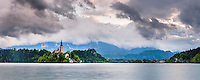 Lake Bled Island, Lake Bled Castle and the Church of the Assumption of St Mary, Julian Alps, Gorenjska, Upper Carniola Region, Slovenia, Europe