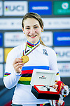Kristina Vogel of Germany celebrates winning the Women's Keirin's  prize ceremony during the 2017 UCI Track Cycling World Championships on 16 April 2017, in Hong Kong Velodrome, Hong Kong, China. Photo by Marcio Rodrigo Machado / Power Sport Images